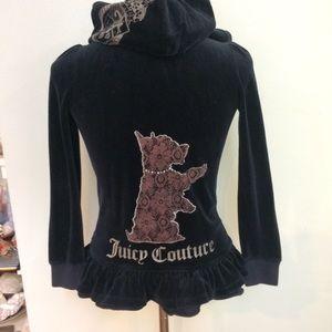 Juicy Couture Black ruffle peplum hoodie jacket